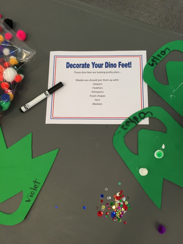 Put Out A Variety Of Markers Sequins Pompoms Feathers Foam Shapes Glue Etc The Only Objective Is To Bedazzle Plain Dinosaur Feet You Gave
